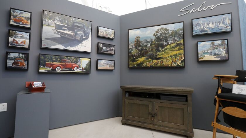 Paintings of Americana trucks, landscapes and food by artist Anthony Salvo, of Costa Mesa, at the Fe