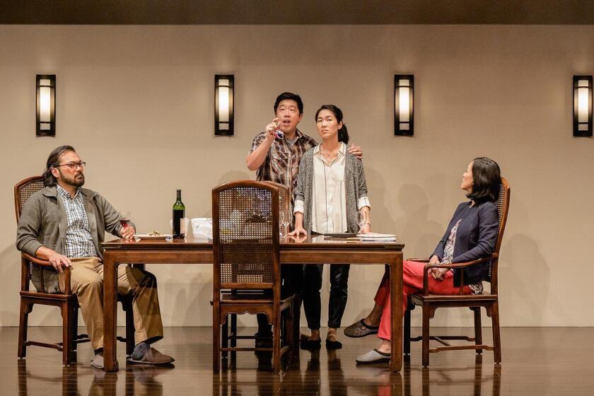 David Shih, Raymond J. Lee, Jackie Chung and MaryAnn Hu in La Jolla Playhouse's production of 'Tiger Style!'