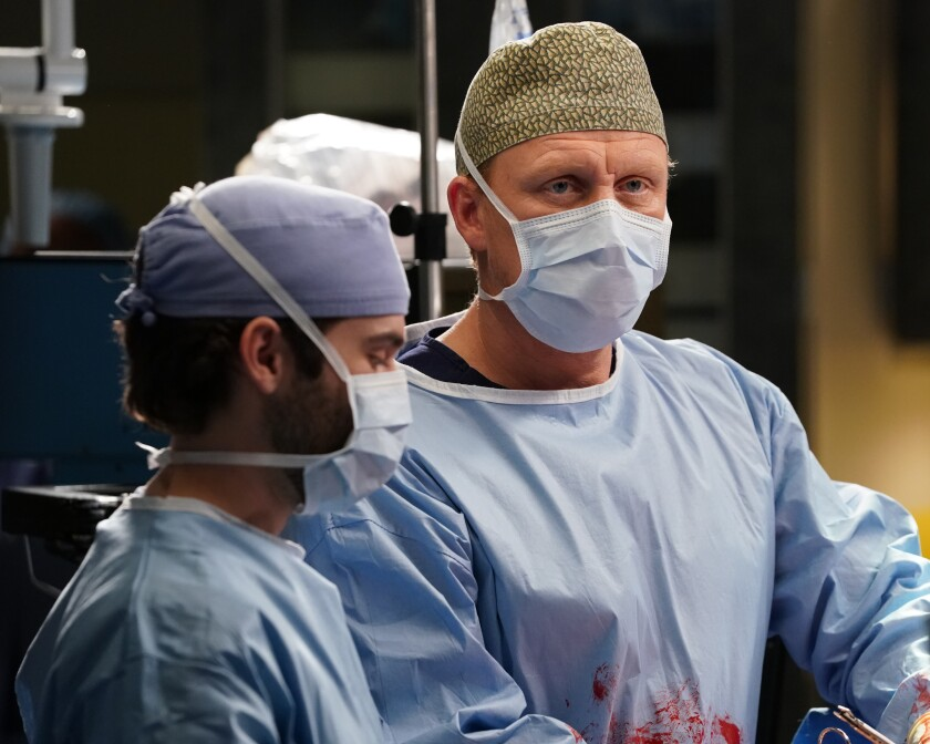 """Grey's Anatomy"" star Kevin McKidd, right, as Dr. Owen Hunt."