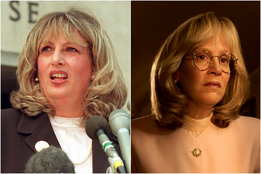 "Linda Tripp, left, and actress Sarah Paulson as Linda Tripp in ""Impeachment: American Crime Story."""