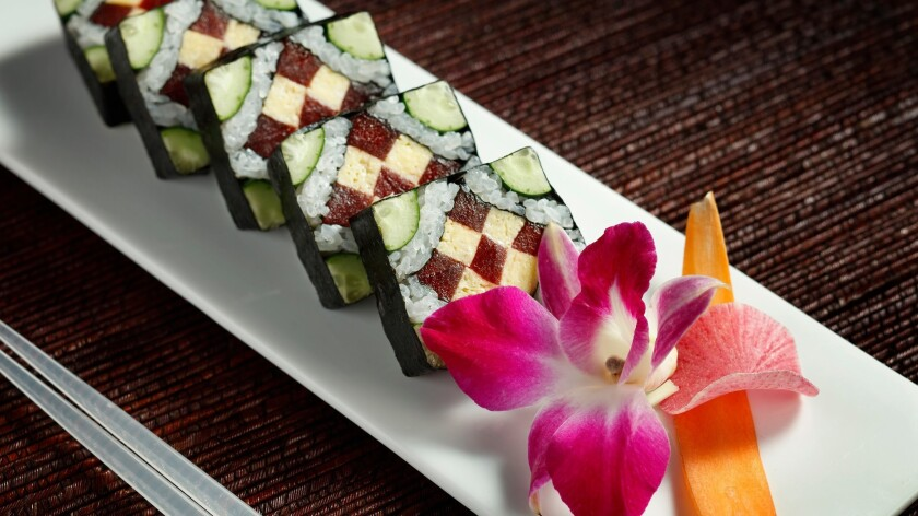 Traditional Japanese dishes at Morimoto Las Vegas include maki, a dish combining sushi and raw vegetables.