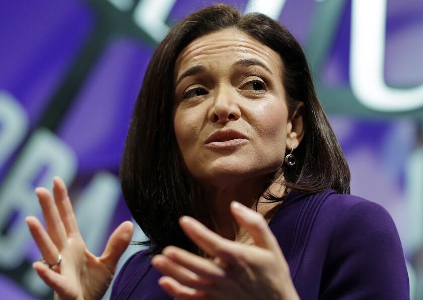 Sheryl Sandberg speaks in November 2015 at a forum in San Francisco.