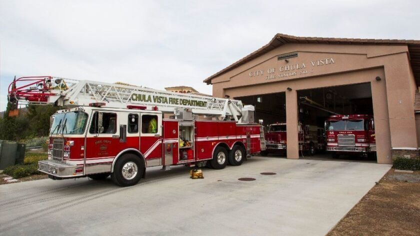 City of Chula Vista Fire Station No. 6 in Eastlake. Fire engines at CVFD Station 6 sit parked while firefighters await a call.