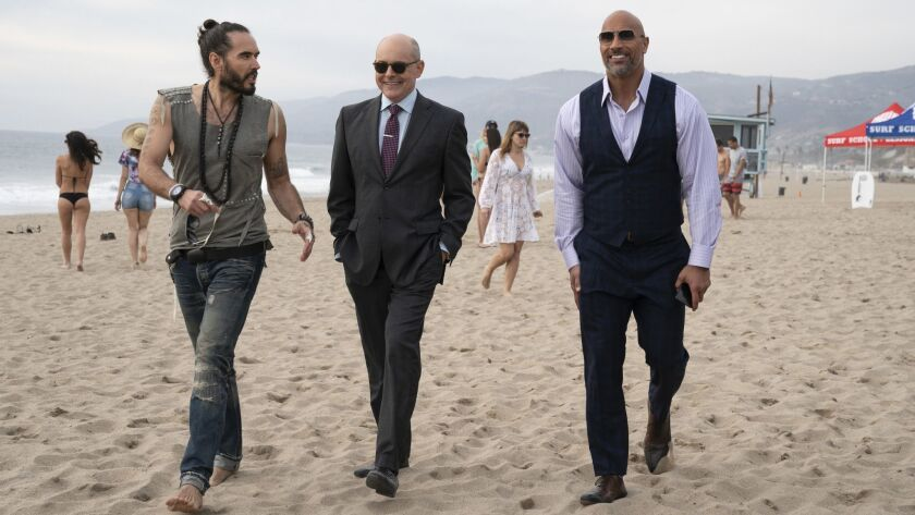 Left to right. Russel Brand as Lance, Rob Corddry as Joe Krutel and Dwayne Johnson. From the HBO e
