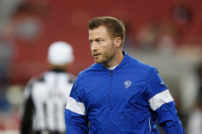 Rams coach Sean McVay looks on before a game against the 49ers.