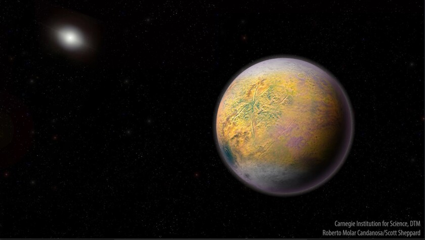 An illustration of the hypothesized but undiscovered Planet X, which could be shaping the orbits of smaller extremely distant outer solar system objects like 2015 TG387.