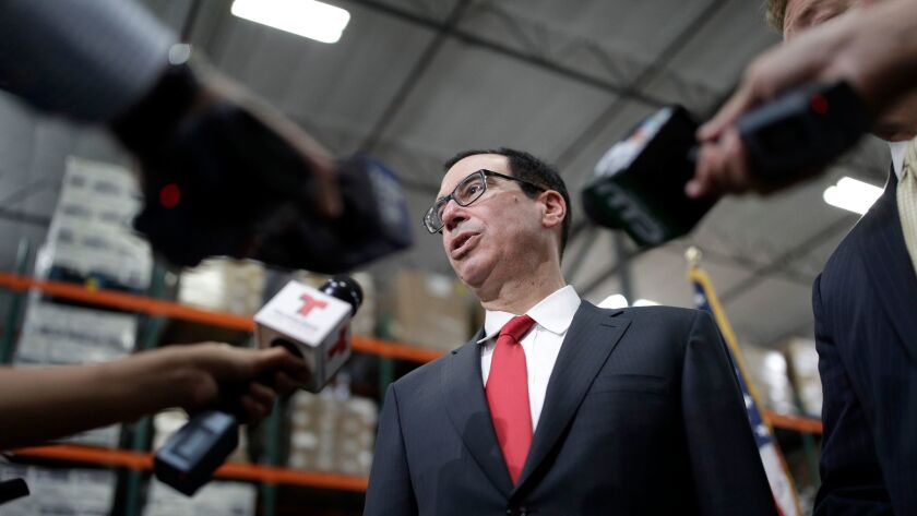 Treasury Secretary Steven Mnuchin speaks at a news conference in Las Vegas on Aug. 28.
