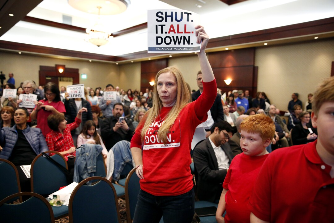 Danielle Michaels, a resident of Porter Ranch, attends a meeting held by state regulators in 2017.