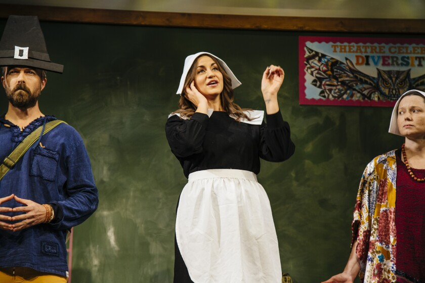 "Noah Bean, Alexandra Henrikson, center, and Samantha Sloyan in ""The Thanksgiving Play"" at Geffen Playhouse."