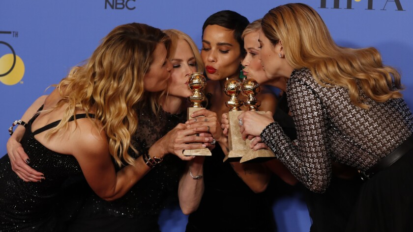 BEVERLY HILLS, CA - January 7, 2018 : (L-R) Actors Laura Dern, Nicole Kidman, Zoe Kravitz, Reese W