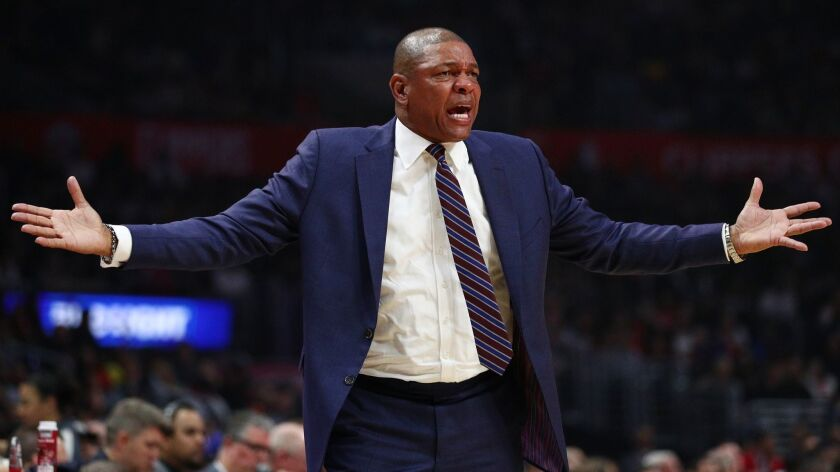 Clippers coach Doc Rivers reacts during a game against the Houston Rockets on April 3 at Staples Center.