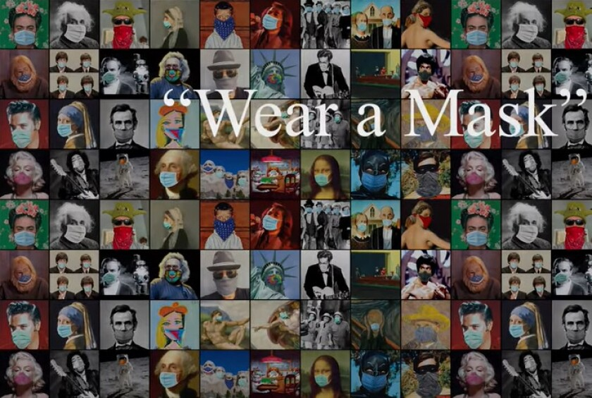 This collage of iconic figures wearing face masks was created by David Rees and Sha Na Na leader Jocko Marcellino.