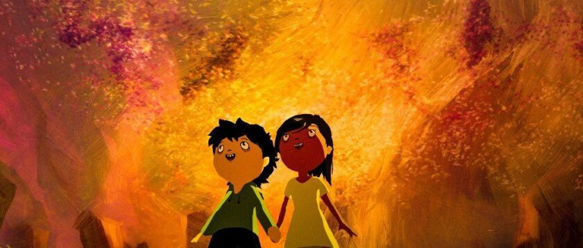 """Tito, voiced by Pedro Henrique, and Sarah, voiced by Marina Serretiello, in a scene from """"Tito and the Birds."""""""