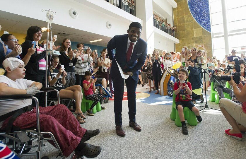 Montreal Canadiens defenseman P.K. Subban appears at a news conference at the Children's Hospital in Montreal.