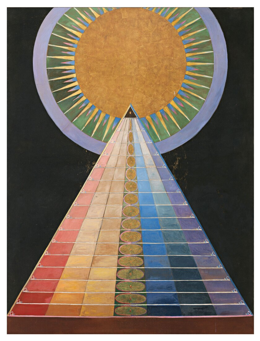 "In 1915, Hilma af Klint made three ""Altarpiece"" paintings for a temple to spiritual enlightenment that was never built."