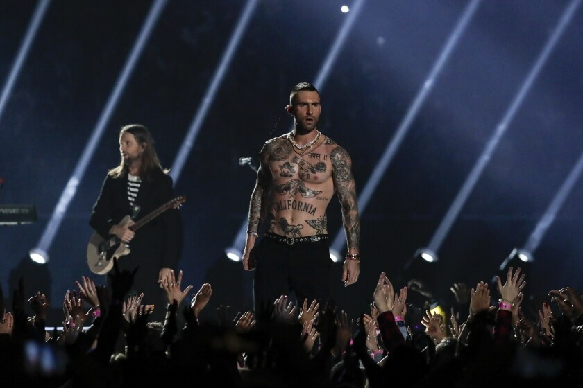 Adam Levine performs with Maroon 5 during the halftime show at Super Bowl LIII at Mercedes-Benz Stadium in Atlanta on Feb. 3.