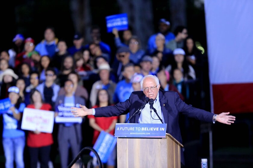 Presidential candidate Bernie Sanders speaks to thousands at Kimball Park in National City on May 21, 2016.