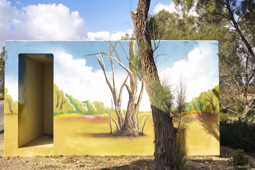 Jewish National Fund-USA donors in San Diego sponsor Israeli artists who paint bomb shelters like this one.