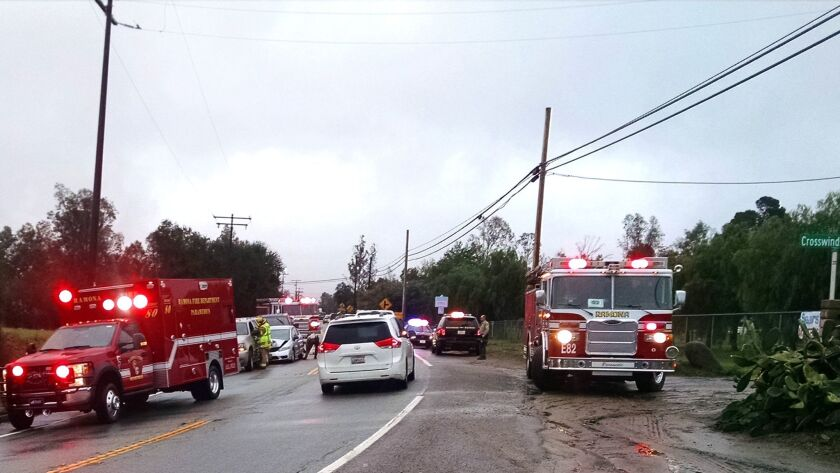 Ramona Fire Department responds to the accident with its Medic 80, the first call for the department's new ambulance.