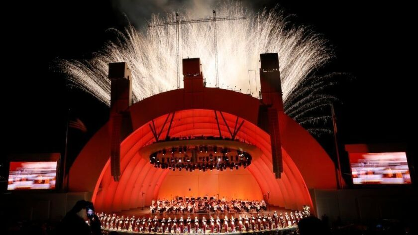 The Hollywood Bowl glows during its last program of the season last year, the annual Tchaikovsky Spectacular with fireworks.