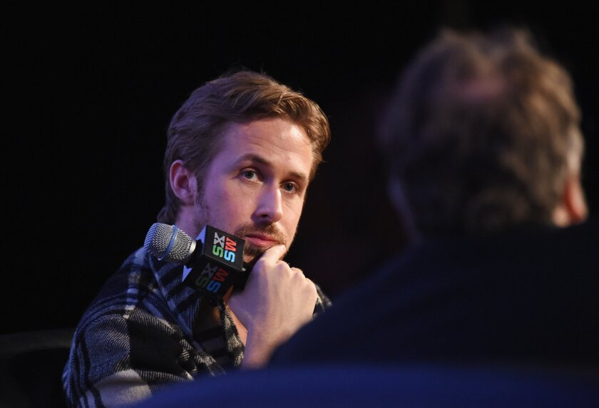 """Ryan Gosling talks to Guillermo del Toro about directing his first film, """"Lost River,"""" at SXSW."""