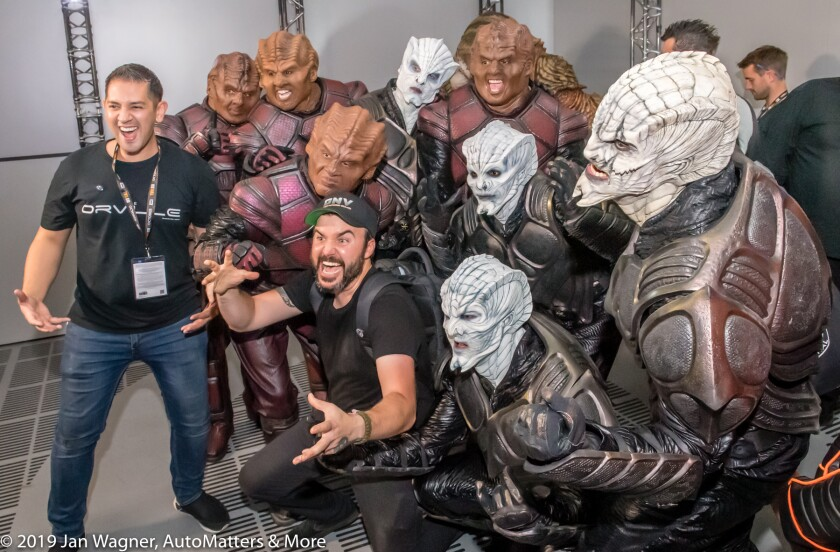Lex Cassar reacts in a big way to being surrounded by aliens at The Orville Experience.
