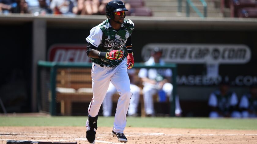 Padres prospect Franchy Cordero started the 2016 season at Lake Elsinore. He was a shortstop before he was converted to center field in 2016.