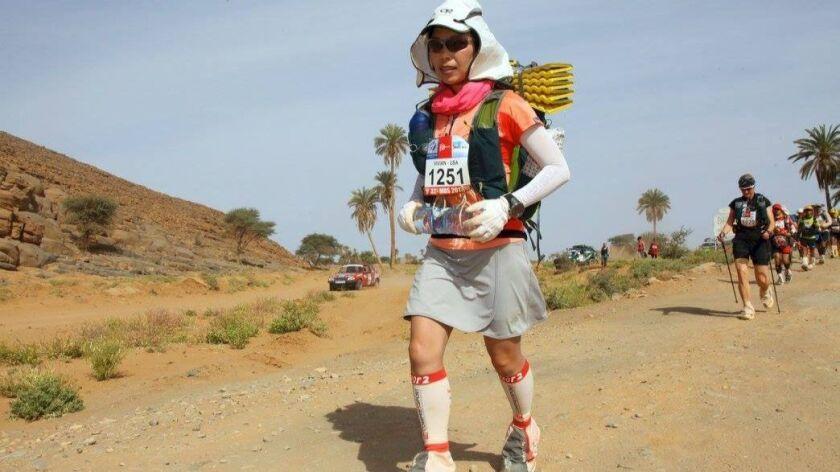 Vivian Lee of Encinitas takes part in the 2017 Marathon de Sables, a six-day ultramarathon held April 7-17th in Morocco's Sahara Desert.