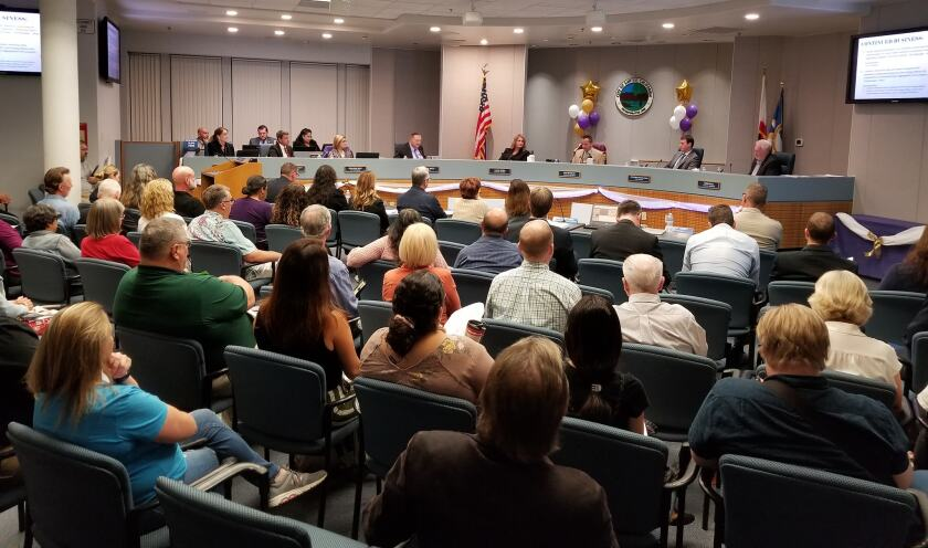 A Santee City Council meeting last December. Santee voters will decide in November on 2 competing term limit measures.