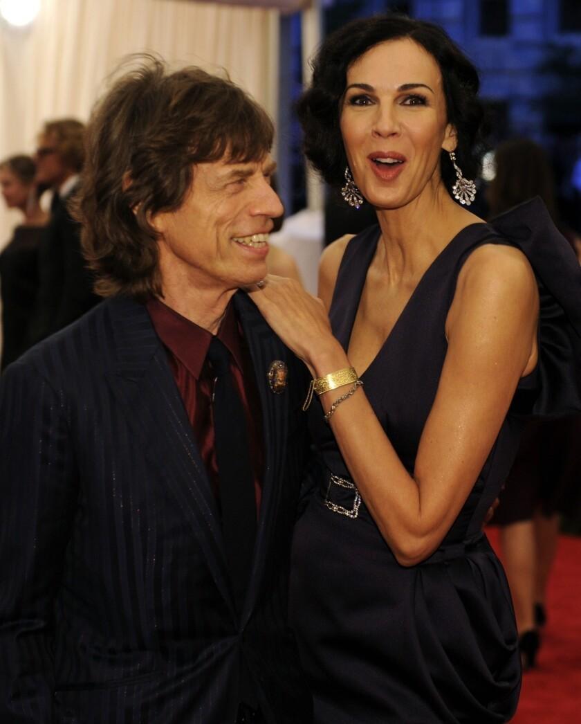 Mick Jagger and L'Wren Scott at a benefit at the Metropolitan Museum of Art.