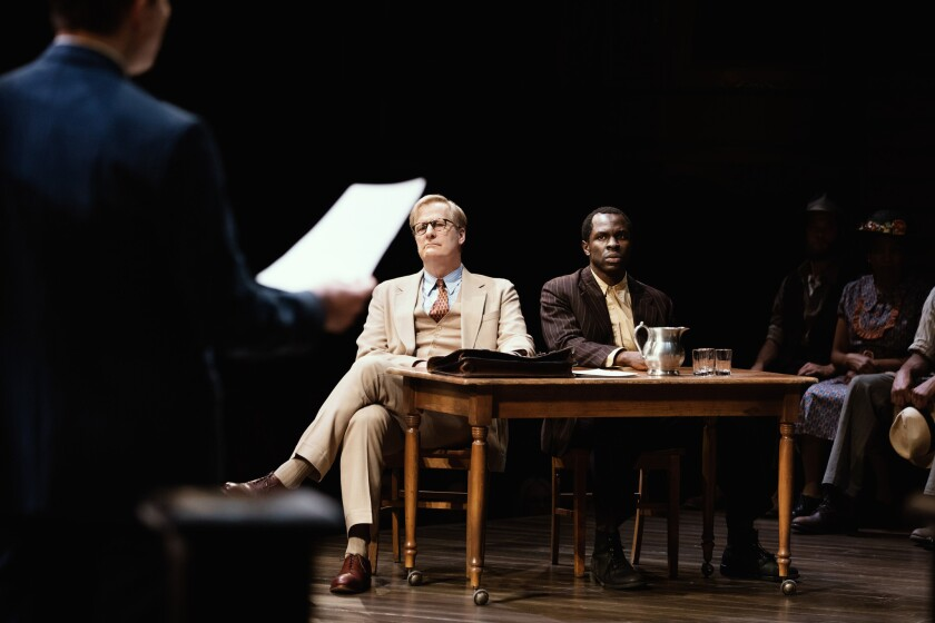 "Jeff Daniels, left, and Gbenga Akinnagbe in the Broadway production of ""To Kill a Mockingbird."""