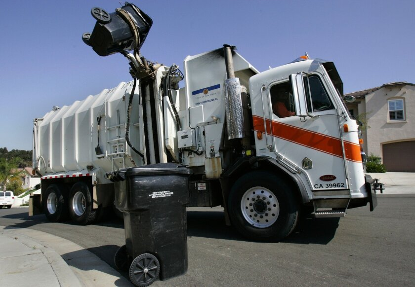 A San Diego city trash truck picked up garbage in the Scripps Ranch area. This is for story about enviromental issues in the mayors race. UT File
