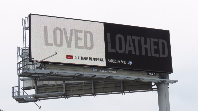 To promote the documentary, ESPN is using digital billboards featuring just two words to convey the conflicting public perceptions of Simpson.