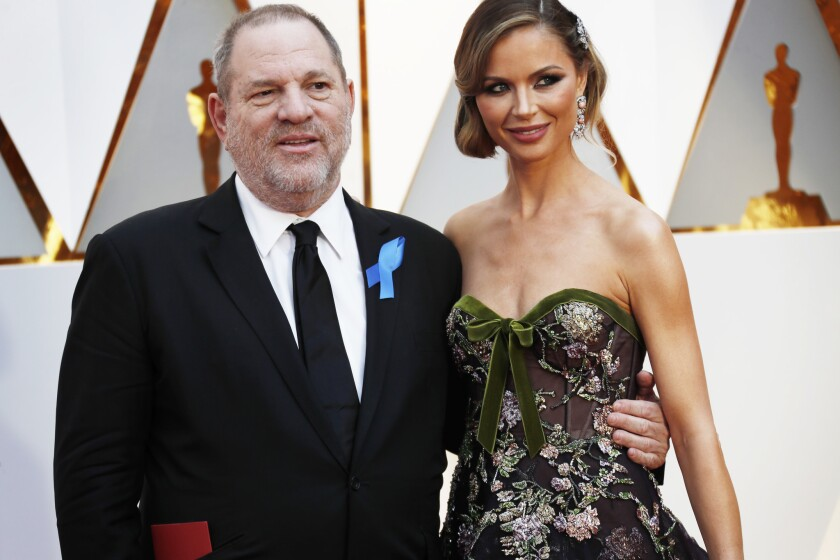 HOLLYWOOD, CA - February 26, 2017 Harvey Weinstein and Georgina Chapman during the arrivals at the 8