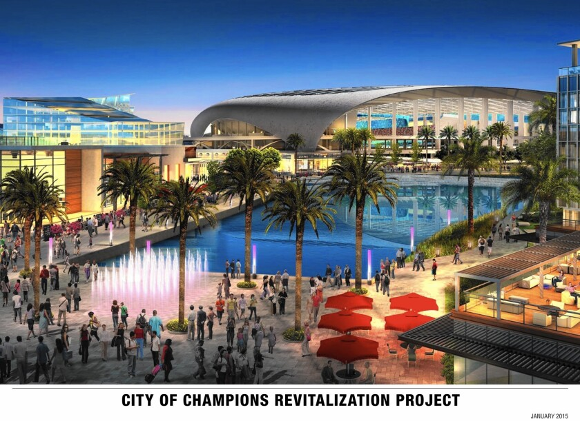 An artist's rendering shows the planned City of Champions Revitalization Project in Inglewood, where the owner of the St. Louis Rams plans to build an NFL stadium.