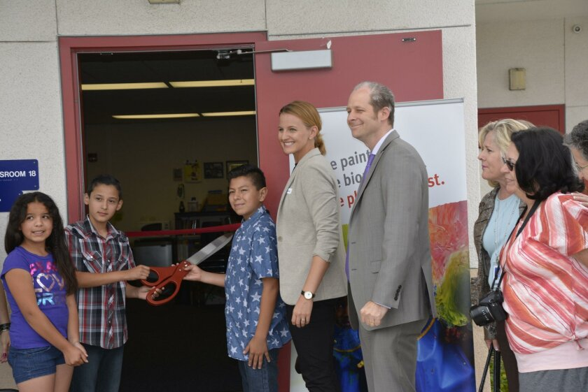 Cutting the ribbon at Maryland Elementary are: Maryland Elementary students; Katie Sawyer of United Way; VUSD Superintendent Dr. Devin Vodicka; Assistant Superintendent Dr. Sherry Opacic; School Board Trustee Elizabeth Jaka.