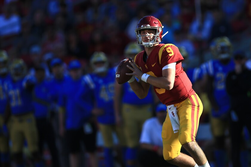USC quarterback Kedon Slovis passes during a win over UCLA on Nov. 23.