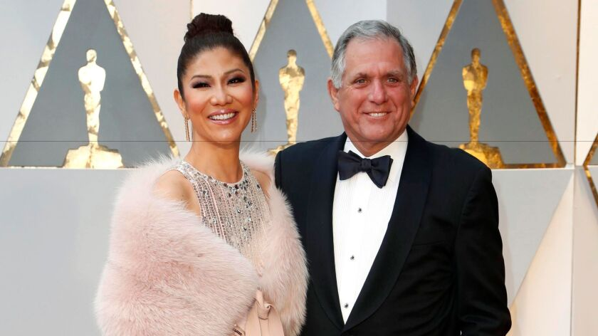 Julie Chen and CBS Chief Executive Leslie Moonves at the Academy Awards in February.