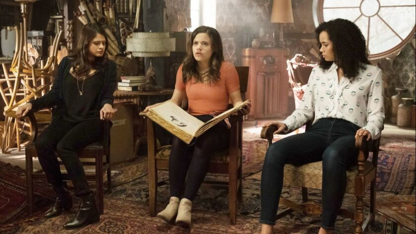 """The """"Charmed"""" reboot, starring, from left, Melonie Diaz, Sarah Jeffrey and Madeleine Mantock, embraces female empowerment and diverse representation."""