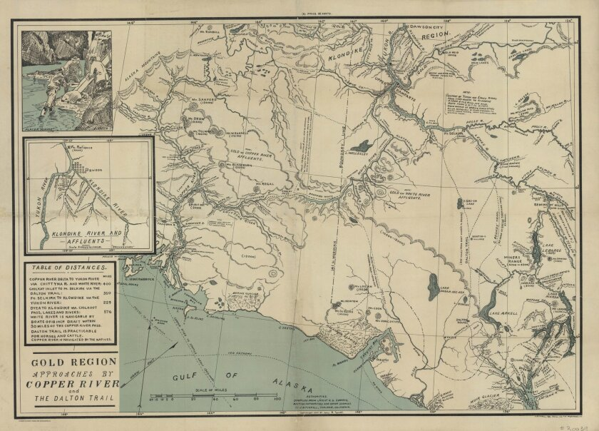 1897 map of routes to Klondike and Yukon gold fields by noted Canadian surveyor J.B. Tyrrell