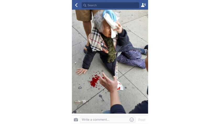 An elderly Korean woman was assaulted in Koreatown Wednesday afternoon, in an attack that one social media post alleged was racially motivated.