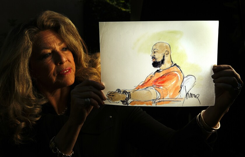 """Mona Shafer Edwards displays a sketch she did of former rap mogul Marion """"Suge"""" Knight during a hearing about evidence in his murder case. The fear of the day when she is no longer needed is always present. Sometimes the phone doesn't ring for weeks. """"I always wonder, is this the last job? Is this my last story?"""" she said. """"But then the phone rings."""""""