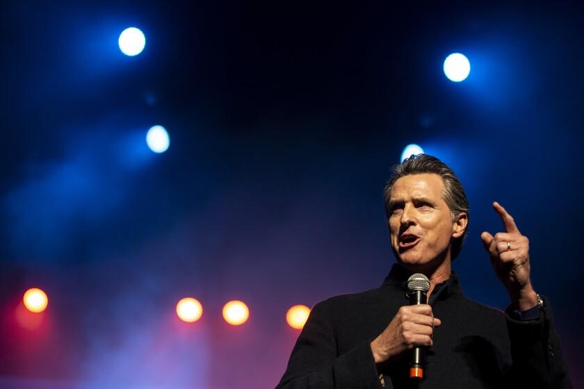 Then Gov.-elect Gavin Newsom speaks at an inauguration event in Sacramento in Jan. 2019.