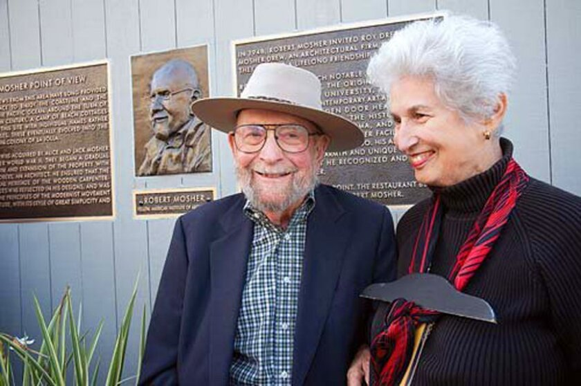 The Mosher Point of View, the name of the public observation deck adjoining Eddie V's restaurant at 1270 Prospect St., honors Robert Mosher (pictured in 2012 with his wife Joany) with a bronze bust and plaques recognizing the famed architect's 60-plus-year career.