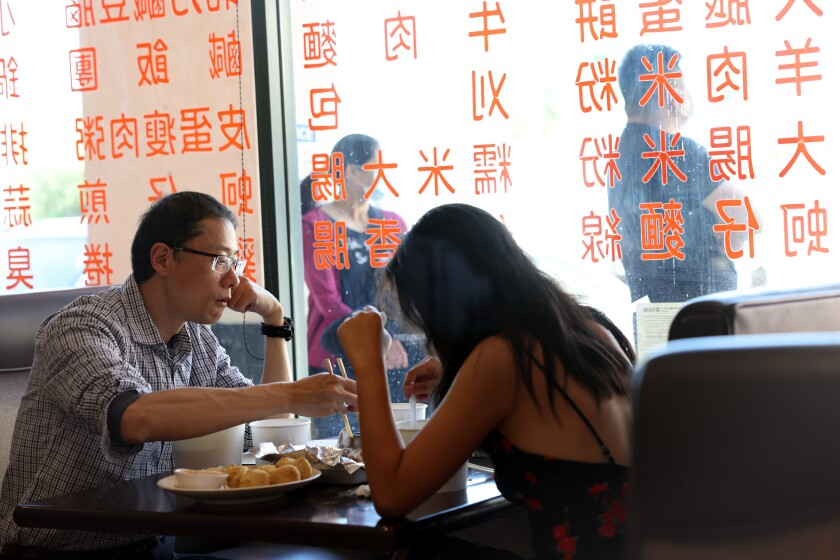Customers eat at YungHo, a Taiwanese breakfast and brunch spot on Valley Boulevard in San Gabriel on Thursday.
