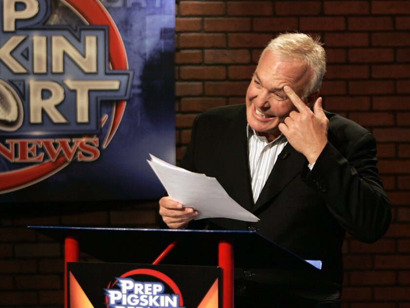 Paul Rudy anchors &#8220;Prep Pigskin Report&#8221; on KUSI Channel 9/51 on Friday nights. Rudy started the football highlights show in 1999 with a small staff. The show now requires a crew of about 50.  <em>&#8201; John Gastaldo / Union-Tribune photos</em>