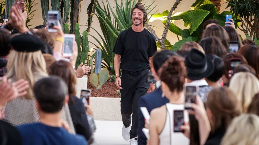 Valentino creative director Pierpaolo Piccioli at the finale of the spring and summer 2019 women's runway show in Paris on Sept. 30, 2018.