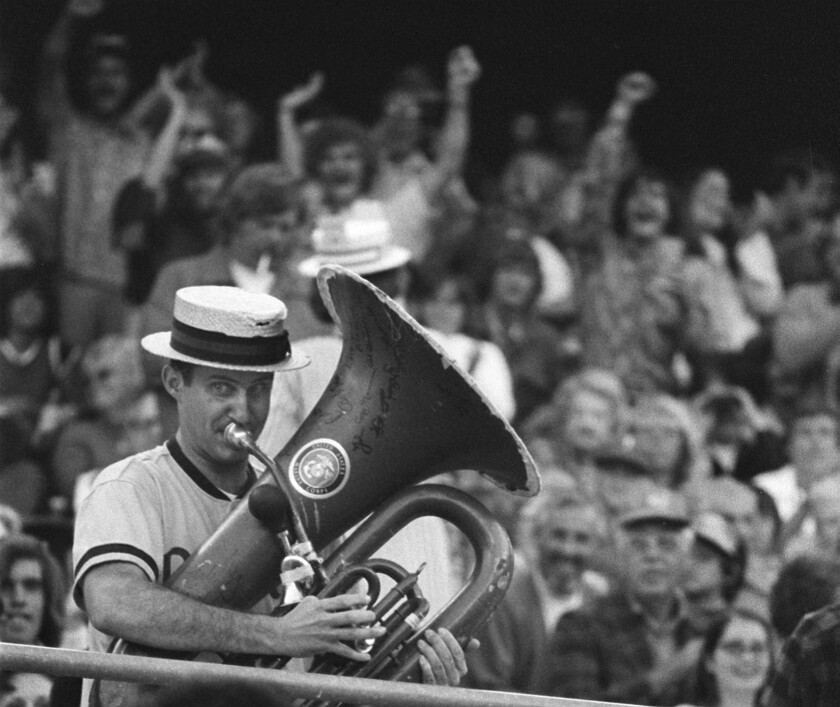 Jim Eakle, known as the Tuba Man, plays during a Padres series with the San Francisco in June 1974.