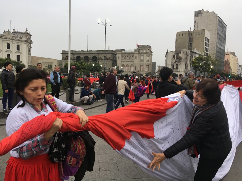 Rally in Lima with the names of alleged victims of forced sterilizations