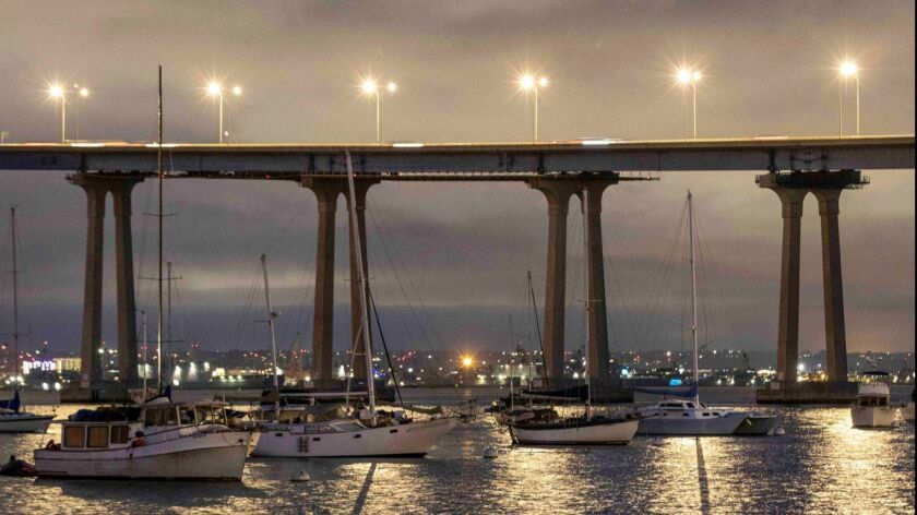 SAN DIEGO, CA - February 27, 2019 - Boats anchored by the San Diego?Coronado Bay Bridge, at dusk. (R